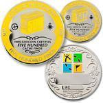 500 Finds Geocoin + Pin + Box