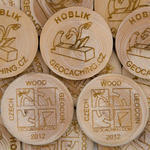 Wooden Coin 50 pcs, spruce (branch)