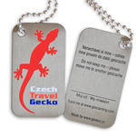 Czech Travel Gecko tag - red