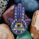 Hamsa Amulet Geocoin - Amethyst