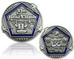 The Real Climb II Geocoin Antique Silver