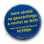 Trackable button pin - Addicted to geocaching