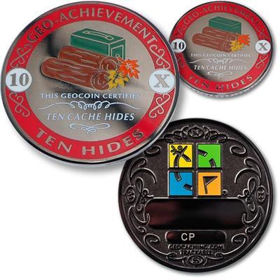 10 Hides Geocoin + Pin + Box - 1
