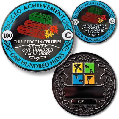 100 Hides Geocoin + Pin + Box - 1