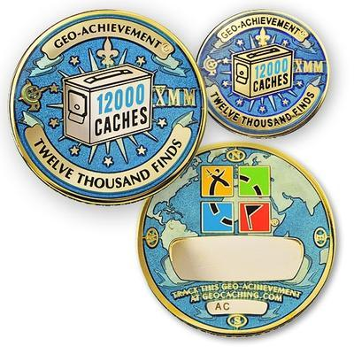 12000 Finds Geocoin + Pin + Box