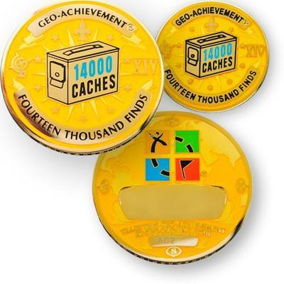 14000 Finds Geocoin + Pin + Box