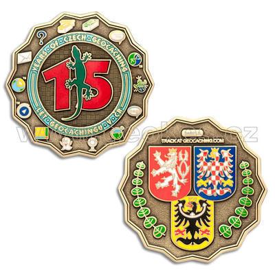 15 Years of Geocaching in Czech Republic Geocoin - Antique Bronze - 1