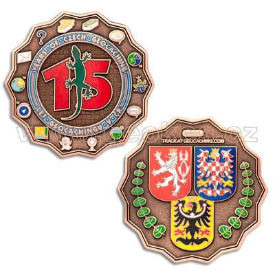 15 Years of Geocaching in Czech Republic Geocoin - Antique Copper - 1