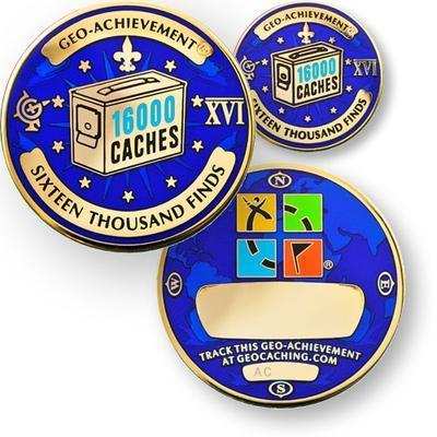 16000 Finds Geocoin + Pin + Box - 1