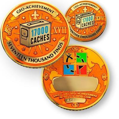 17000 Finds Geocoin + Pin + Box - 1