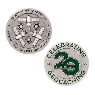 Celebrating 20 Years of Geocaching Geocoin and Trackable Tag Set - 1