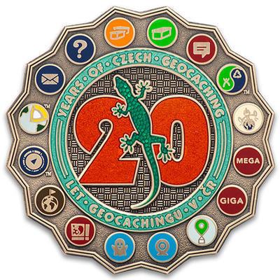 20 Years of Geocaching in Czech Republic Geocoin - Antique Bronze - 1