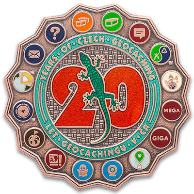 20 Years of Geocaching in Czech Republic Geocoin - LE Antique Copper - 1
