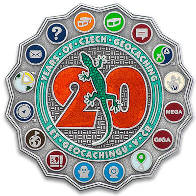 20 Years of Geocaching in Czech Republic Geocoin - Antique Silver - 1