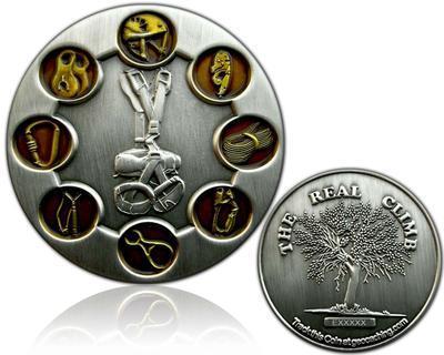 The Real Climb Geocoin Antique Silver