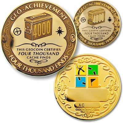 4000 Finds Geocoin + Pin + Box - 1