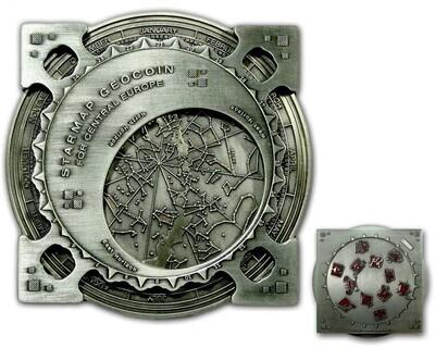 Star Map XXXXL Geocoin Antique Silver - 1