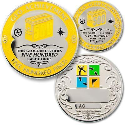 500 Finds Geocoin + Pin + Box - 1