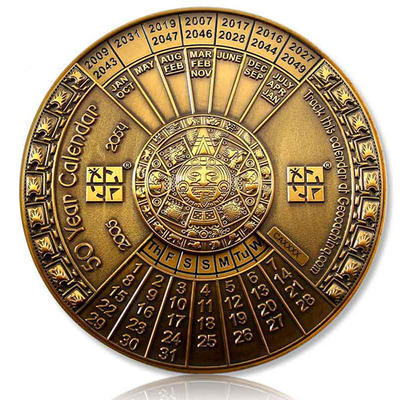 50 Years Calendar XXXL Geocoin Antique Gold - 1