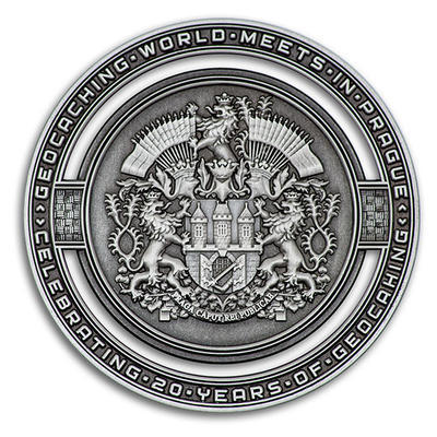 2020 GIGA Prague geocoin - Antique Silver - 1