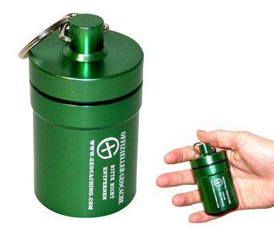 Small geocache - aluminium container GREEN - 1