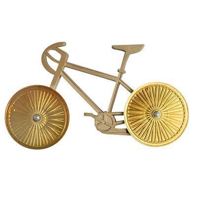 Bicycle geocoin - Two Tone Satin Nickel Bike Gold Wheels - 1