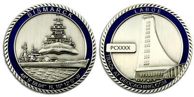 Bismarck Geocoin Antique Silver