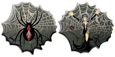Black Widow Geocoin Polished Silver