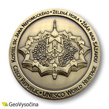 Zelena Hora Czech Geocoin - Antique Gold - 1