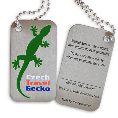 Czech Travel Gecko tag - green