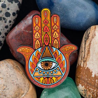 Hamsa Amulet Geocoin - Jasper - 1