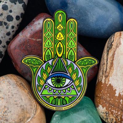 Hamsa Amulet Geocoin - Emerald - 1