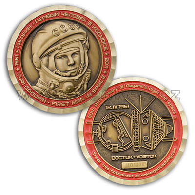 Gagarin - First Man In Space Geocoin - Antique Gold