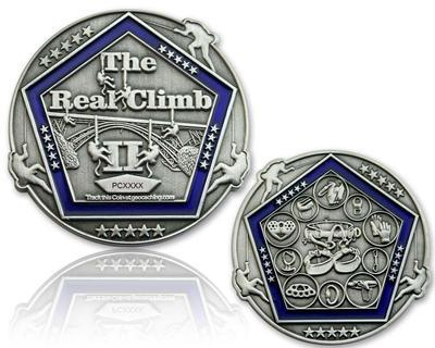 The Real Climb II Geocoin Antique Silver