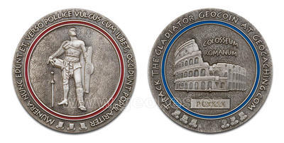 Gladiator Geocoin Antique Silver