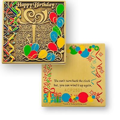 Happy Birthday Geocoin - bronze