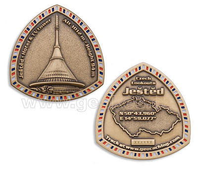 Jested geocoin - Antique Gold