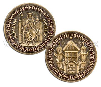 Karel IV – King of Bohemia Geocoin - Antique Gold - 1