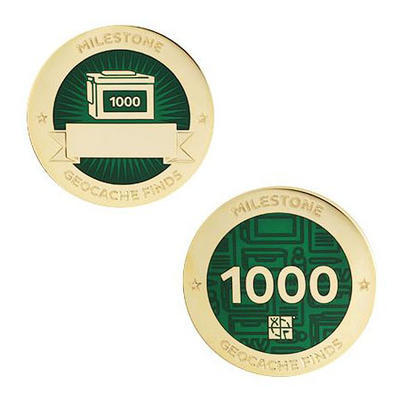 1.000 Finds Milestone Geocoin and Tag Set - 1