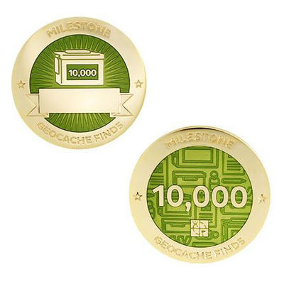 10.000 Finds Milestone Geocoin and Tag Set - 1