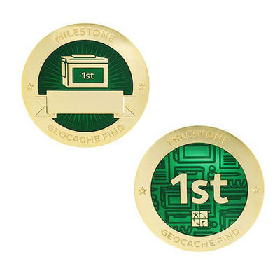 1st Find Milestone Geocoin and Tag Set - 1