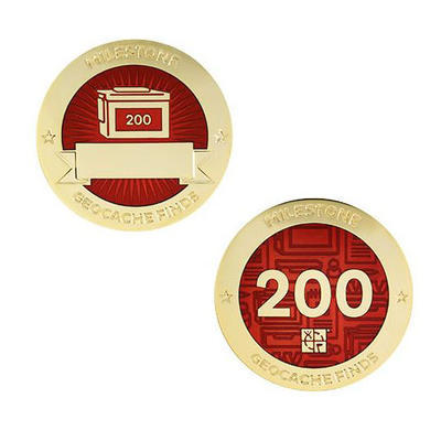 200 Finds Milestone Geocoin and Tag Set - 1