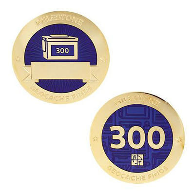 300 Finds Milestone Geocoin and Tag Set - 1