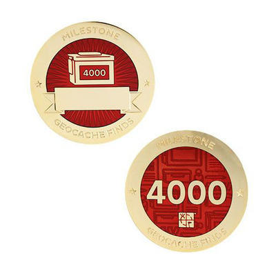 4.000 Finds Milestone Geocoin and Tag Set - 1