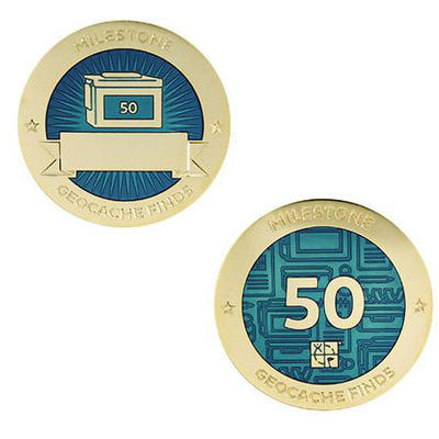 50 Finds Milestone Geocoin and Tag Set - 1