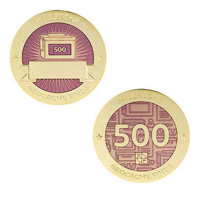 500 Finds Milestone Geocoin and Tag Set - 1
