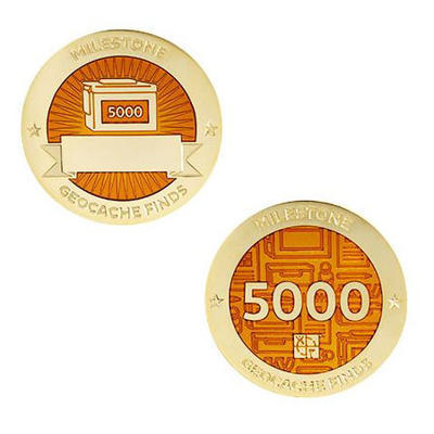 5.000 Finds Milestone Geocoin and Tag Set - 1
