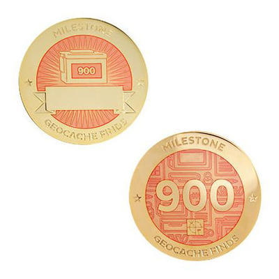 900 Finds Milestone Geocoin and Tag Set - 1