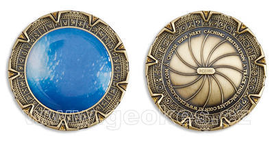 SpaceGate Geocoin - Antique Gold - 1