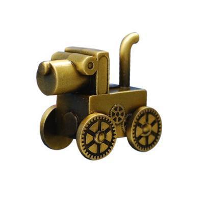Steampunk Dog Geocoin - Antique Gold - 1